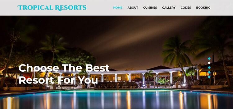 Tropical Resorts Website Template